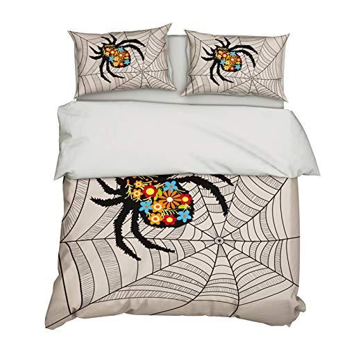 Stillshine. 3D Animal Bedding Set Dinosaur Rabbit Spider Butterfly Frog Printed Bedding Duvet Cover with Zipper and Pillowcase Microfiber Child Adult (Colour 3, 135 × 200 cm)
