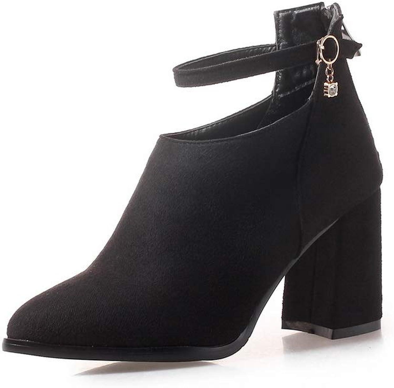 AN Womens Chunky Heels Buckle Zipper Imitated Suede Boots DKU02191