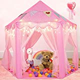 Scientoy Kids Play Tent, Princess Castle Tent with Star Lights for Kids, Bonus Magic Wand and Banners Decor, 55' x 53'Large Hexagon Playhouse for Girls Age 3+ Indoor & Outdoor Games (Pink)
