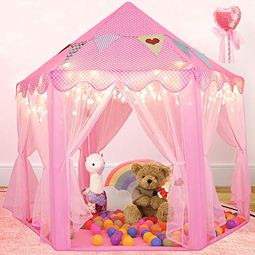 """Scientoy Kids Play Tent, Princess Castle Tent with Star Lights for Kids, Bonus Magic Wand and Banners Decor, 55"""" x 53""""Large Hexagon Playhouse for Girls Age 3+ Indoor & Outdoor Games (Pink)"""