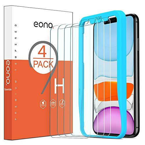 Amazon Brand-Eono [4 Stück] Schutzfolie kompitabel mit iPhone 11/ iPhone XR, 2.5D, 9H, Anti-Kratzen,Hülle Fre&llich,mit Schablone