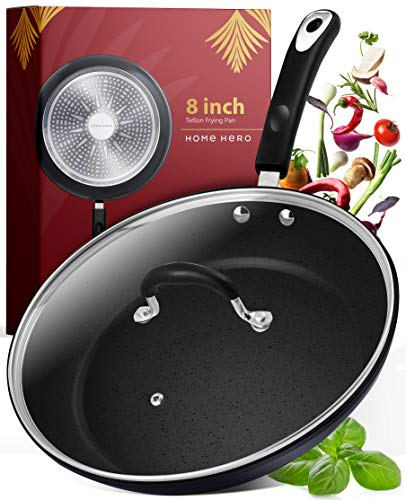 Frying Pan with Lid  8 Inch Frying Pans Nonstick Skillet Pan Nonstick Frying Pan Skillets Nonstick with Lids Non Stick Pan Cooking Pan Fry Pan Nonstick Pan with Lid Skillet with Lid Pan Black