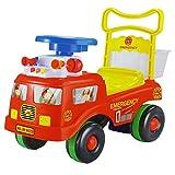 Dominiti Rutschauto mit Feuerwehr Motiv und Flüsterreifen Rutscher für Kinder mit Sirene