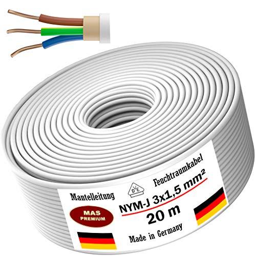 Feuchtraumkabel Stromkabel 5, 10, 15, 20, 25, 30, 35, 40, 50, 75, 80, oder 100m Mantelleitung NYM-J 3x1,5 mm² Elektrokabel Ring für feste Verlegung (20 m)