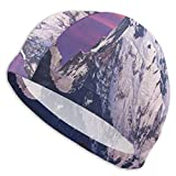 GUUi Swimming Cap Elastic Swimming Hat Diving Caps,Himalayan Mountain In The Sunset Nature Photography Idyllic Composition Trekking,For Men Women Youths