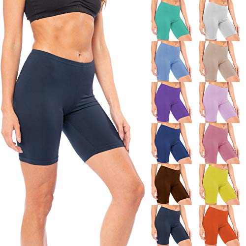 Sexy Basics Womens 12 Pack Buttery Soft Brushed Active Stretch Yoga Bike Short Boxer Briefs (12 Pack- Solid Color Blast, X-Large)