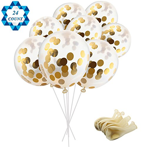 SOTOGO 24 Pieces Gold Confetti Balloons 12 inches Party Balloons with Golden Paper Confetti Dots (Confetti Has Been Put Into The Balloons) for Party Decorations Wedding Decorations and Proposa