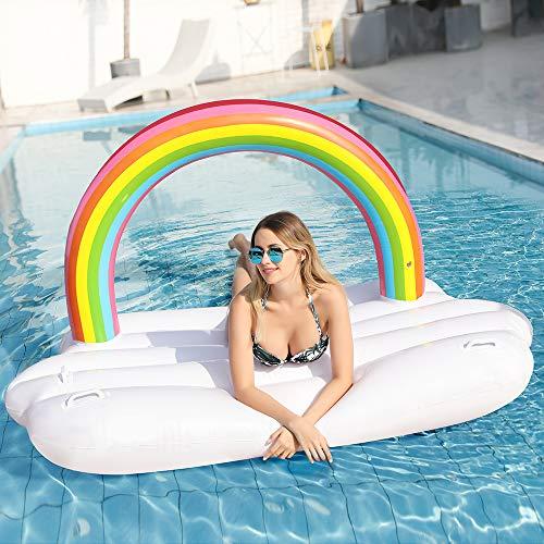 Riesiger Aufblasbarer Luftmatratze Regenbogen-Wolke Pool Floß Schwimmen Schwebebett Wasserspielzeug Sommer Schwimmbad Floß Strand für Kinder Erwachsene Mädchen (Aufblasbarer Wolken Regenbogen)