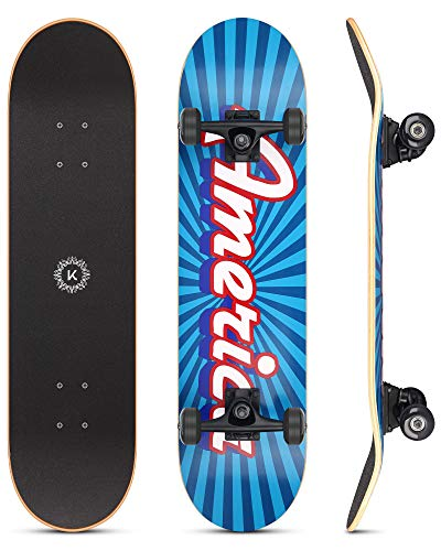 Skateboard, 31'x8' Complete Skateboards for Girls Boys Adults Beginners, 7...