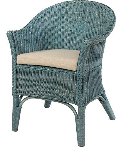 Rattan-Sessel Natur Korb-Sessel Rattansessel Rattanstuhl mit Armlehnen Lounge Flechtsessel (Blau, mit Polster)