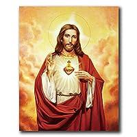 イエスのポスタープリントイエスの壁の芸術キリスト教の神のキャンバスの絵画インテリアヴィンテージの写真リビングルームカトリック教会の寝室の壁画の装飾45x60cmフレームなしZ4