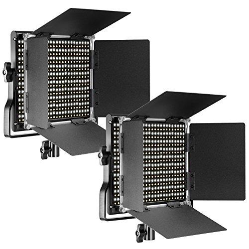 Neewer 2 pacchi regolabile Bi-Color LED con supporto in U E luce di video professionale per studio, cornice di metallo resistente, 660 LED Perle, 3200 – 5600 K, cri 96 + (spina della UE)