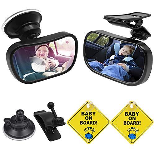 Specchio Auto Neonato, Senteen 2 Pcs Bambino Vista Posteriore Specchio Specchietto Retrovisore Auto Regolabile a 360°, Con Ventosa e Clip (Con 2 Adesivi Di Avvertenza)
