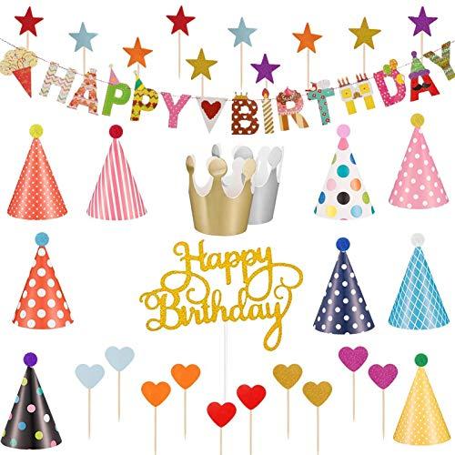 Xinmeng Partyhüte Geburtstag Set 33 Stücke Partyhüte Kindergeburtstag Set Geburtstagsfeier Hüte und Happy Birthday Spruchband,Tortendeko Cake Topper,Geburtstag Dekoration Set