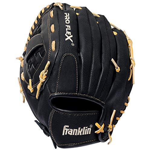 Franklin Sports Pro Flex Hybrid Series Baseball Fielding Glove, Left Hand Throw, 12.5-Inch, Black/Camel