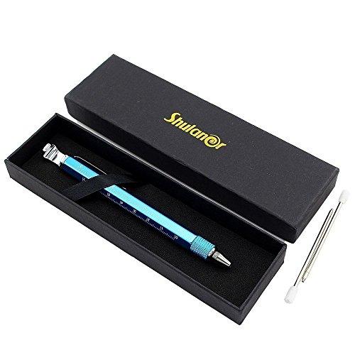 Shulaner 7 en 1 Tech Herramienta Bolígrafo con regla, abrebotellas, teléfono soporte, bolígrafo, lápiz capacitivo y 2 Tornillo herramienta conductor, multifunción, Fit para hombre padre regalo azul