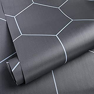 """Bathroom Peel and Stick Wallpaper - Bathroom Wallpaper (Hexagon Gray) - Contact Paper or Wall Paper - Self Adhesive Wallpaper - Easily Removable Wallpaper - 23.6"""" Wide x 118"""" Long"""