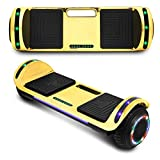 CHO POWER SPORTS 2020 Electric Hoverboard UL Certified Hover Board Electric Scooter with Built in Speaker Smart Self Balancing Wheels (Gold)