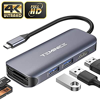 [Updated 2020 Version] USB C Hub,5 in 1 Portable Aluminium Dongle with 4K USB C to HDMI Adapter, 2 USB 3.0, SD TF Card Reader,Compatible for MacBook/Pro/Air 2016/2017/2018/2019,More Type C Devices