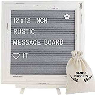 Felt letter board 12 x 12 inch with Letters + Easel Stand. Changeable Emojis, Numbers and Characters. Rustic Message Board has White Frame & Gray Felt with Vintage Look | Letter Boards Word Board