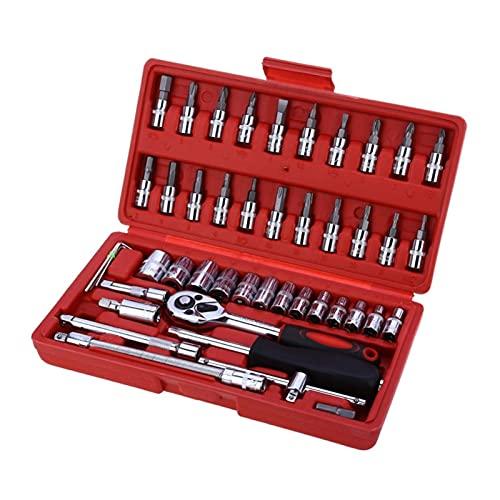 JIABIN Songz Store Herramientas de reparación de automóviles de 46pcs Set de Llave Inglesa 1/4'Herramientas de Mano de Kit de Llave de trinquete # 275499