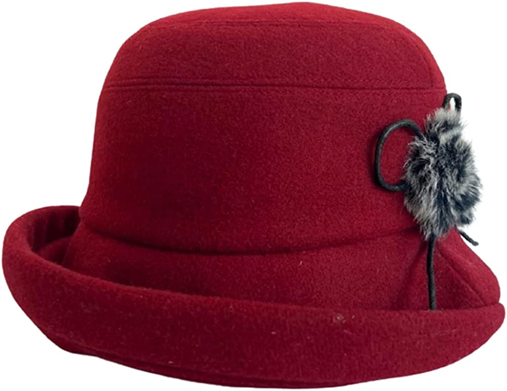 Womens Winter Cloche Bucket Hat Wool Fedora Beret Cap Beanie Hat Vintage Bowler Hat with Bow