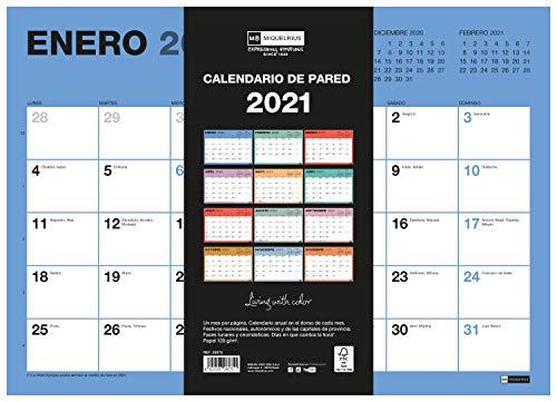 MIQUELRIUS - Calendario de Pared 2021 Chromat - Español, A3 420 x 296 mm con espacio para escribir y apuntar, Un color por mes
