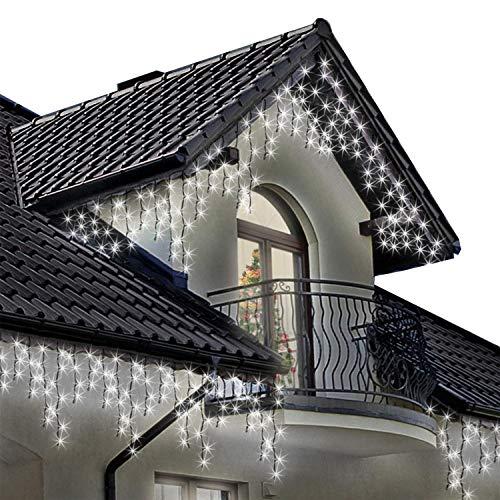 Meisterhome Lichterkette Eisregen Warmweiß Weihnachtsbeleuchtung Mit 8 Funktionen Innen/Außen 600 LED 12M