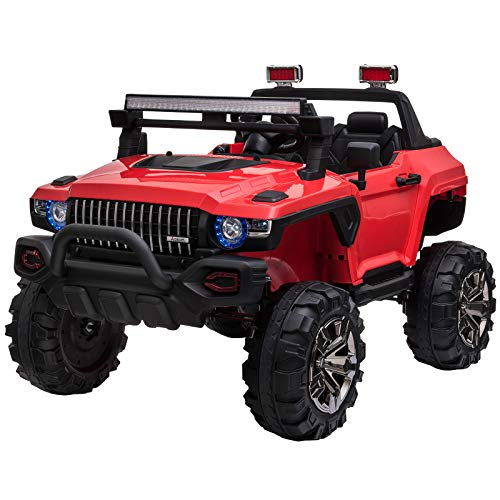 Aosom 12V Kids Electric 2-Seater Ride On Police Car SUV Truck Toy with Parental Remote Control, Red