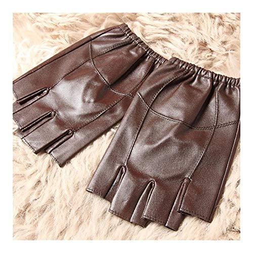 LUOSI Mode for Männer halbe Finger-Handschuhe High-End Thin Section Einfachen Fahren Anti-Rutsch-Sport Fitness-Handschuhe tragen (Color : Men Brow, Size : L)