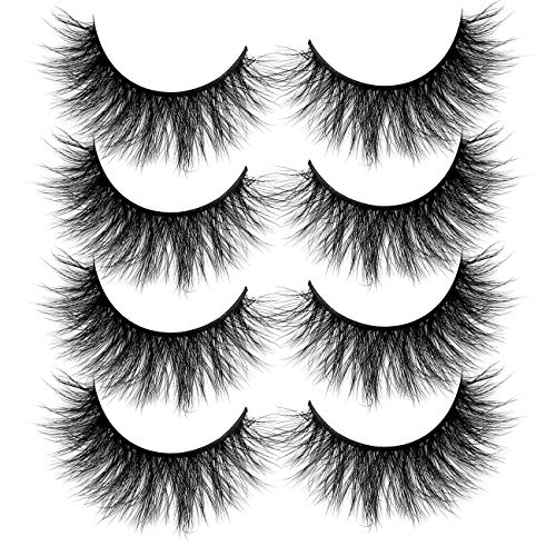 3D Faux Mink Eyelashes Pack, Fake Eyelash Fluffy Volume Natural Cross Lashes Soft Handmade Wispy Eye Makeup