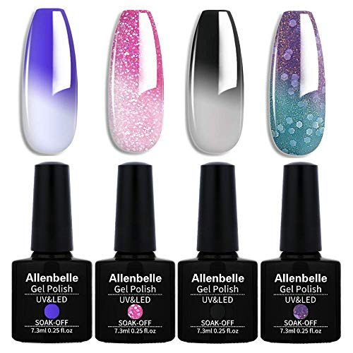 Allenbelle Color Changing Nail Polish Set Color Changing Gel Polish Set Mood Soak Off Uv Led Gel Nail Polish 002