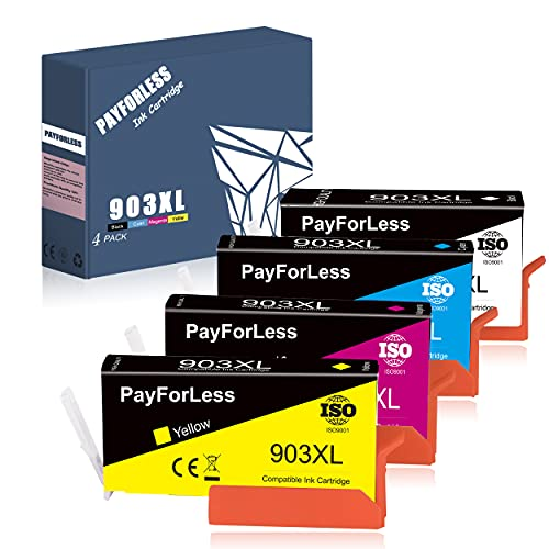 Payforless 903XL Druckerpatronen Ersatz für HP 903 XL Multipack Tintenpatronen Kompatibel mit HP Officejet Pro 6950 6970 6760 All-in-One Drucker 4er-Pack Schwarz, Cyan, Magenta, Gelb
