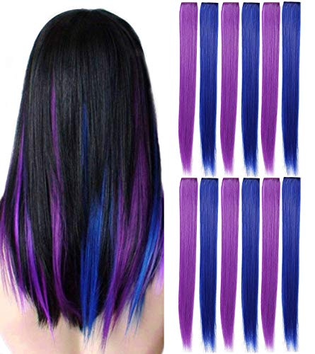 12 Pcs Colored Party Highlights Colorful Clip in Hair Extensions 22 inch Straight Synthetic Hairpieces for Women Kids Girls, Purple + Sapphire Blue