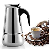 Lixada Stainless Steel Stovetop Coffee Pot Espresso Coffee Maker Kettle 100ML / 200ML / 300ML / 450ML / 600ML Outdoors Indoors Cafeteira