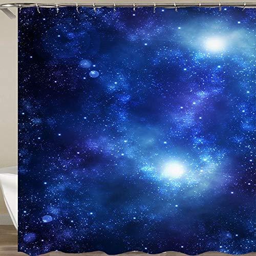N / A Tela de Cortina de Ducha Espacial Cortina de Ducha de baño 3D Cortina de baño Azul Gancho Cortina de Ducha Impermeable y a Prueba de Moho A13 180x200cm