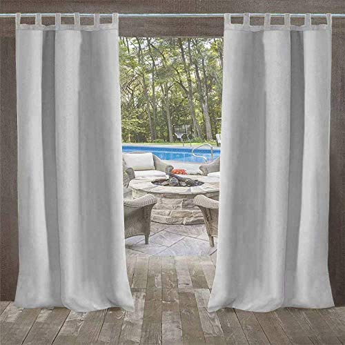 UniEco - Outdoor Curtains for Gazebo with Adhesive Tape, Mildew Resistan Pergola Curtains, Perfect for Garden Patio Balloon of Pavilion Beach House, 1 Piece, 50' W*84' H, Grey