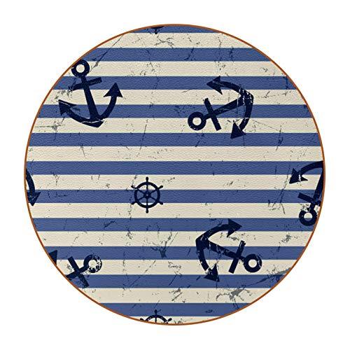 6 posavasos redondos de microfibra de piel para bebidas, posavasos decorativos para tipos de tazas y tazas, diseño de rayas oceánicas