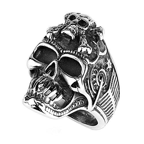 Piersando Herren Ring Edelstahl Biker Rocker Totenkopf mit gekreuzten Knochen Männer Herrenring 30mm Breit Silber Größe 69 (22.0)