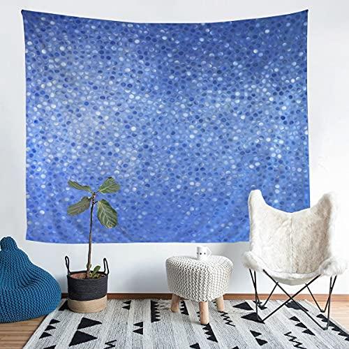 Tapiz de pared geométrica azul para niños adultos pequeños con forma de azulejos para colgar en la pared, diseño simple y clásico creativo arte de pared para dormitorio, sala de estar, 152 x 201