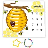 F-FUN SOUL Honeycomb Bee Baby Milestone Blanket, Large 48x40in Soft Fabric, Months Growth Tracker Props, Baby Shower Newmom Gift, Included 2 Bonus Marker LHFS835