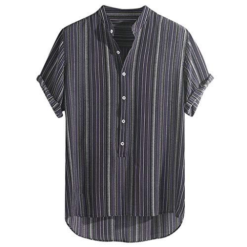 TEBAISE Freizeithemd Hawaiihemd Herren Kurzarm Hemd Henley Hemden 2019 Sommer Leinen Hemd Mehrfarbig Gestreift Leinenshirt Locker Regenbogen Hemd Stripe Kurzarm Shirt Regular-fit