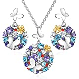 CLOT EVIL Magic Garden Butterfly Jewelry Sets for Women 18K White Gold Plated Circle Pendant Disc Crystal Necklace and Stud Earrings Set Colorful Fashion Gifts for Woman