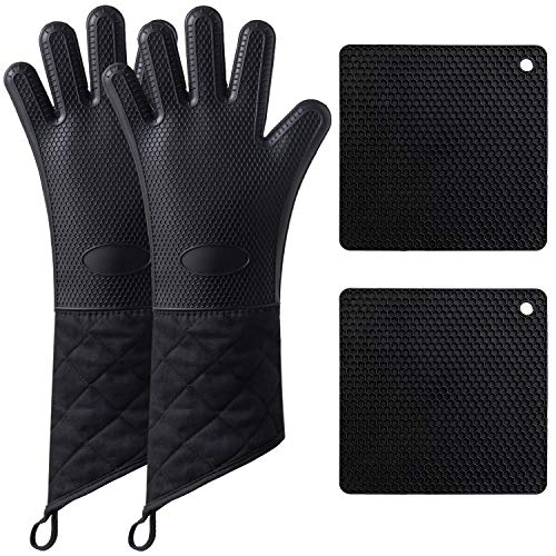 Camkuzon Silicone Oven Mitts and Pot Holders 4-Piece Sets, Extra Long Heat Resistant Oven Gloves Non-Slip Food Grade Kitchen Mitt...