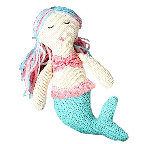 MON AMI Plush Mermaid Baby Rattle, Ocean Collection, Knit Crochet, Stuffed Mermaid Baby Rattle, Plush Toy, Baby Gift, Multi, 8' (76274)