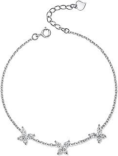 فراشة الكريستال سحر سوار و الإسورة 925 فضة ربط سلسلة للنساء مجوهرات الزفاف