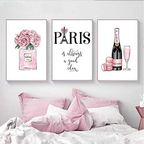 kldfig mode kunst canvasdruk schilderij champagne parfum poster Parijse toren linnen schilderij voor woonkamer decoratie schilderij-50 * 70 cm niet ingelijst-3 stuks