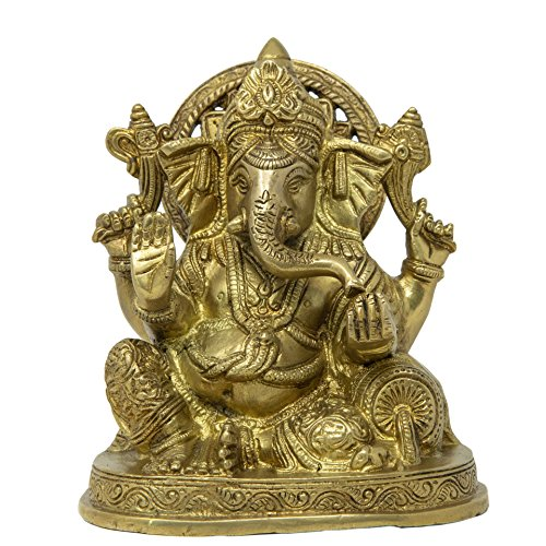 ShalinIndia- Statua in Ottone Religiosa Signore Ganesha Seduto Ganpati Grande Pooja Mandir Home