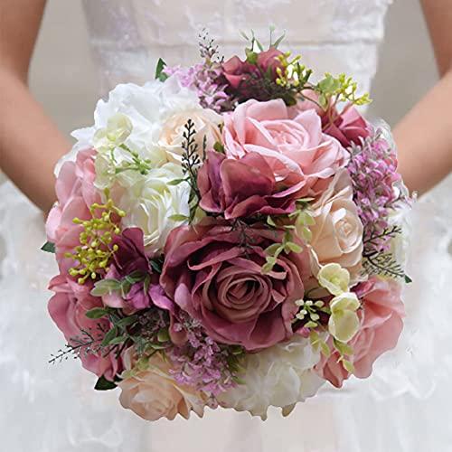 RHwedding Romántico ramo de boda novia ramo de flores artificiales de seda para novia, dama de honor, decoración para el hogar (polvo de rosa)