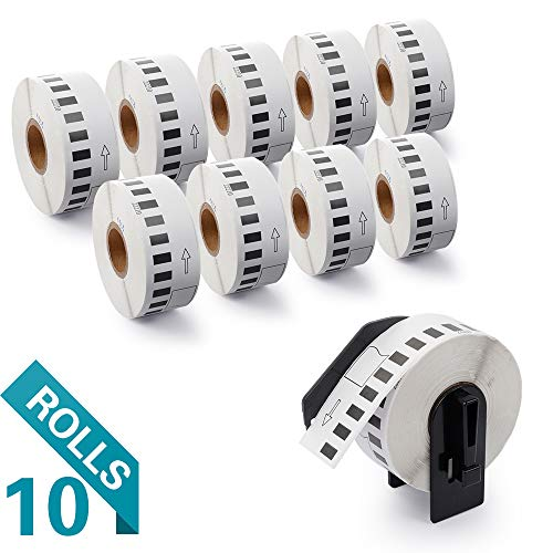"""Airmall Compatible Labels Replacement for Brother DK-2210 Continuous Labels,Replacement Labels-1-1/7"""" x 100' for use in QL-500 700 710W 820 NWB Printer (10 Rolls,100'/ Roll)"""